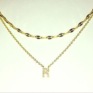 "Nordstrom 18k gold 925  ""r"" initial necklace"